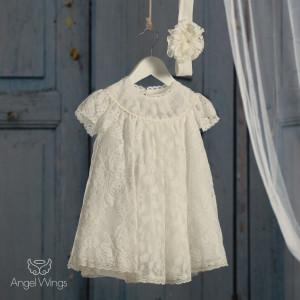 Ολοκληρωμένο πακέτο βάπτισηs με αυτό Φόρεμα (angels wings Κωδ.Ρετρό. 007-119) (Με Βάλίτσα η παγκάκι θρανίο) Δωρεάν μεταφορικά!!