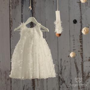 Ολοκληρωμένο πακέτο βάπτισηs με αυτό Φόρεμα (angels wings Κωδ.Fiona. 061-145)(Με Βάλίτσα η παγκάκι θρανίο) Δωρεάν μεταφορικά!!