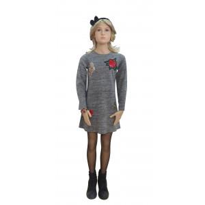Φόρεμα Πλεκτό Μακρύ Μανίκι Γκρί Ανοιχτό Εβίτα  175047