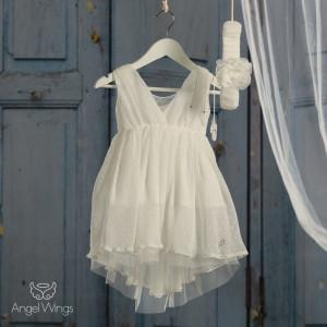 Ολοκληρωμένο πακέτο βάπτισηs με αυτό Φόρεμα (angels wings Κωδ.Athina 072-127)(Με Βάλίτσα η παγκάκι θρανίο) Δωρεάν μεταφορικά!!