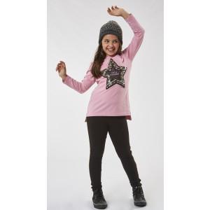 Μπλουζοφόρεμα και κολάν σε Ροζ χρώμα