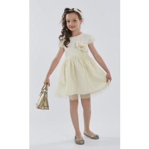 Φόρεμα Κοντό Μανίκι Εκρού Εβίτα 175032