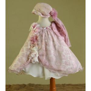 Ολοκληρωμένο πακέτο βάπτισηs με αυτό το Φόρεμα (Ευσταθίου) (Κωδ.17118) Με βαλίτσα rain ή παγκάκι θρανίο