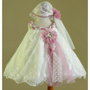 Ολοκληρωμένο πακέτο βάπτισηs με αυτό το Φόρεμα (Ευσταθίου) (Κωδ.16152) Με βαλίτσα rain ή παγκάκι θρανίο