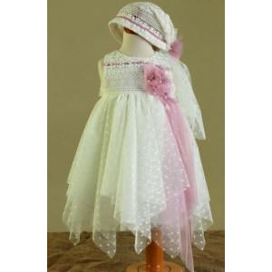 Ολοκληρωμένο πακέτο βάπτισηs με αυτό το Φόρεμα (Ευσταθίου) (Κωδ.16142) Με βαλίτσα rain η παγκάκι θρανίο