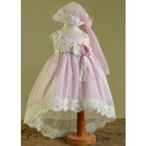 Ολοκληρωμένο πακέτο βάπτισηs με αυτό το Φόρεμα (Ευσταθίου) (Κωδ.17125) Με βαλίτσα rain ή παγκάκι θρανίο