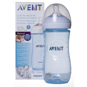 Avent Natural, Πλαστικό Μπιμπερό Μπλε SCF698/17 με Θηλή Μέτριας Ροής 330ml #541.001.030