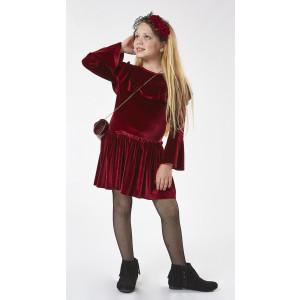 Φόρεμα Βελουτέ + Τσάντα Μπορντώ (#291.086.104+20#)