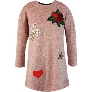 Φόρεμα Πλεκτό Μακρύ Μανίκι Ροζ Εβίτα 175047