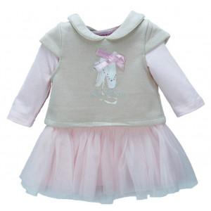 Φόρεμα + Μπλούζα Βρεφικό (Ροζ) (Κωδ.291.330.035+3)