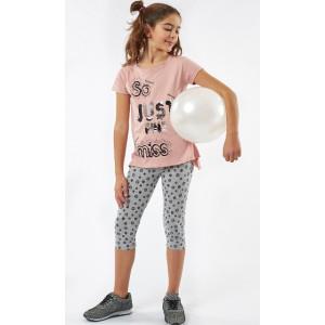 Μπλουζοφόρεμα & Κολάν (Ροζ) (#291.060.027+3#)
