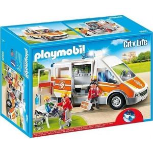 Playmobil Ασθενοφόρο με Σειρήνα και Φάρο που Αναβοσβήνει 6685 Κωδ. 787.342.200