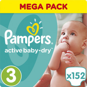 Pampers Active Baby Dry Νο 3 152τμχ (5-9kg) 0,16 λεπτά τμχ πάνας (660.01.033)