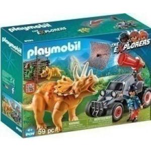 Playmobil Όχημα Λαθροκυνηγών και Οικογένεια Τρικεράτωψ 9434 Κωδ. 787.342.044