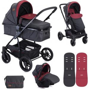 Lorelli Bertoni Combi Stroller S500 SET (Black & Red)