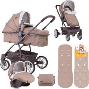 Lorelli Bertoni Combi Stroller S500 SET (Beige & Yellow Happy Family)