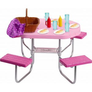 Barbie Έπιπλα Εξωτερικού Χώρου Σετ Τραπέζι Πικ Νικ (FXG37)