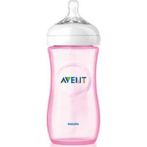Philips Avent Natural Πλαστικό Μπιμπερό Με Θηλή Μέτριας Ροής Ροζ 6m+ 330ml (SCF037/17)