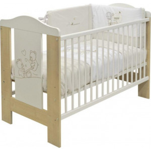 Just Baby Lydia Natural & White 31100 μαζί με στρώμα grecostrom Ορφέας με ύφασμα antibacterial (ΕΚΘΕΣΙΑΚΟ)