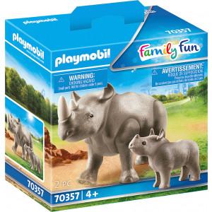 Playmobil Ρινόκερος Με Το Μικρό Του (70357)