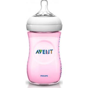 Philips Avent Natural Πλαστικό Μπιμπερό Με Θηλή Αργής Ροής Ροζ 260ml (SCF694/17)