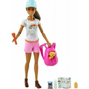 Barbie Hiking Doll Μελαχρινή Κούκλα Με Κουταβάκι & Αξεσουάρ (GRN66)