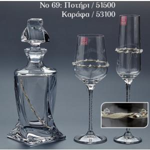 No69.Τιμή καράφας:55€.Τιμή ποτήρι κρασιού:22€.Τιμή ποτήρι σαμπάνιας:22€
