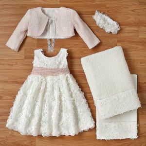 Ολοκληρωμένο πακέτο βάπτισηs με αυτό το φόρεμα (New Life Κωδ.2216-2-100) Με βαλίτσα rain η παγκάκι θρανίο