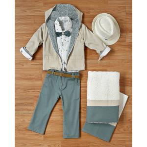 Ολοκληρωμένο πακέτο βάπτισηs με αυτό το κουστούμι και ντουμπλ φας μπουφάν (New Life Κωδ.2117-1-120) Με βαλίτσα rain η θρανίο παγκάκι