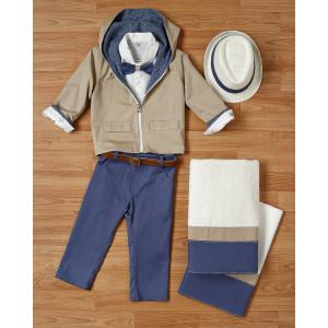 Ολοκληρωμένο πακέτο βάπτισηs με αυτό το κουστούμι και ντουμπλ φας μπουφάν (New Life Κωδ.2117-2-120) Με βαλίτσα rain η θρανίο παγκάκι