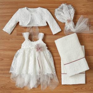 Ολοκληρωμένο πακέτο βάπτισηs με αυτό το φόρεμα (New Life Κωδ. 2218-9-100) Με βαλίτσα rain η παγκάκι θρανίο