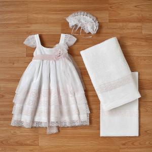 Ολοκληρωμένο πακέτο βάπτισηs με αυτό το φόρεμα (New Life Κωδ. 2222-2-100) Με βαλίτσα rain η παγκάκι θρανίο