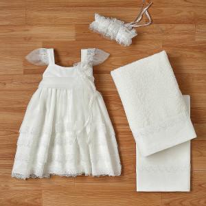 Ολοκληρωμένο πακέτο βάπτισηs με αυτό το φόρεμα (New Life Κωδ. 2222-3-100) Με βαλίτσα rain η παγκάκι θρανίο