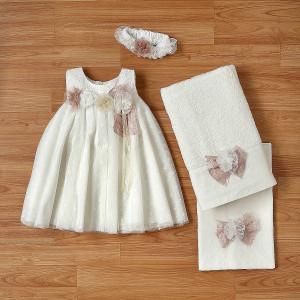 Ολοκληρωμένο πακέτο βάπτισηs με αυτό το φόρεμα (New Life Κωδ. 2224-2-100) Με βαλίτσα rain η παγκάκι θρανίο