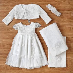 Ολοκληρωμένο πακέτο βάπτισηs με αυτό το φόρεμα (New Life Κωδ.2228-1-100) Με βαλίτσα rain η παγκάκι θρανίο