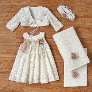 Ολοκληρωμένο πακέτο βάπτισηs με αυτό το φόρεμα (New Life Κωδ.2232-2-100) Με βαλίτσα rain η παγκάκι θρανίο