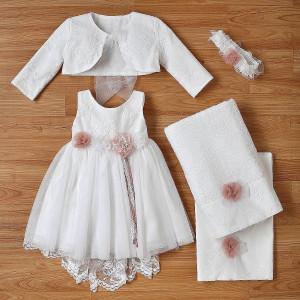 Ολοκληρωμένο πακέτο βάπτισηs με αυτό το φόρεμα (New Life Κωδ.2236-1-100) Με βαλίτσα rain η παγκάκι θρανίο