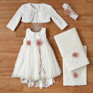 Ολοκληρωμένο πακέτο βάπτισηs με αυτό το φόρεμα (New Life Κωδ.2236-2-100) Με βαλίτσα rain η παγκάκι θρανίο