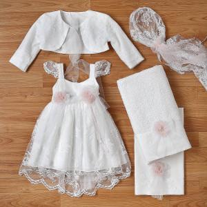 Ολοκληρωμένο πακέτο βάπτισηs με αυτό το φόρεμα (New Life Κωδ.2242-1-100) Με βαλίτσα rain η παγκάκι θρανίο
