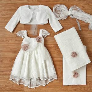 Ολοκληρωμένο πακέτο βάπτισηs με αυτό το φόρεμα (New Life Κωδ.2242-2-100) Με βαλίτσα rain η παγκάκι θρανίο