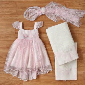 Ολοκληρωμένο πακέτο βάπτισηs με αυτό το φόρεμα (New Life Κωδ.2242-4-100) Με βαλίτσα rain η παγκάκι θρανίο