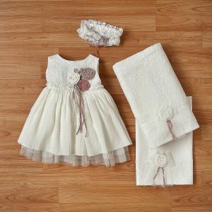 Ολοκληρωμένο πακέτο βάπτισηs με αυτό το φόρεμα (New Life Κωδ.2252-2-100) Με βαλίτσα rain η παγκάκι θρανίο