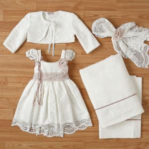 Ολοκληρωμένο πακέτο βάπτισηs με αυτό το φόρεμα New Life (#2308-9-110#) Με βαλίτσα rain η παγκάκι θρανίο. Δωρεάν Μεταφορικά!