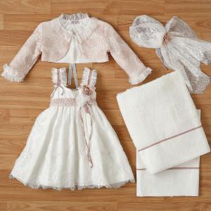 Ολοκληρωμένο πακέτο βάπτισηs με αυτό το φόρεμα New Life (#2312-9-110#) Με βαλίτσα rain η παγκάκι θρανίο. Δωρεάν Μεταφορικά!