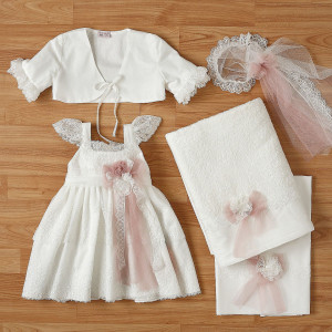 Ολοκληρωμένο πακέτο βάπτισηs με αυτό το φόρεμα New Life (#2318-9-110#) Με βαλίτσα rain η παγκάκι θρανίο. Δωρεάν Μεταφορικά!