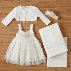 Ολοκληρωμένο πακέτο βάπτισηs με αυτό το φόρεμα New Life (#2322-2-120#) Με βαλίτσα rain η παγκάκι θρανίο. Δωρεάν Μεταφορικά!