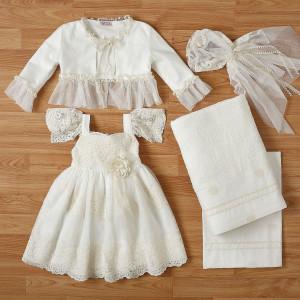 Ολοκληρωμένο πακέτο βάπτισηs με αυτό το φόρεμα New Life (#2324-2-120#) Με βαλίτσα rain η παγκάκι θρανίο. Δωρεάν Μεταφορικά!