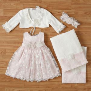 Ολοκληρωμένο πακέτο βάπτισηs με αυτό το φόρεμα New Life (#2326-2-110#) Με βαλίτσα rain η παγκάκι θρανίο. Δωρεάν Μεταφορικά!
