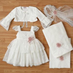 Ολοκληρωμένο πακέτο βάπτισηs με αυτό το φόρεμα New Life (#2328-2-110#) Με βαλίτσα rain η παγκάκι θρανίο. Δωρεάν Μεταφορικά!