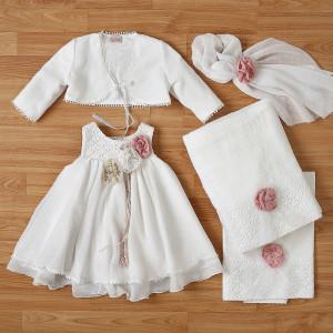 Ολοκληρωμένο πακέτο βάπτισηs με αυτό το φόρεμα New Life (#2334-1-110#) Με βαλίτσα rain η παγκάκι θρανίο. Δωρεάν Μεταφορικά!